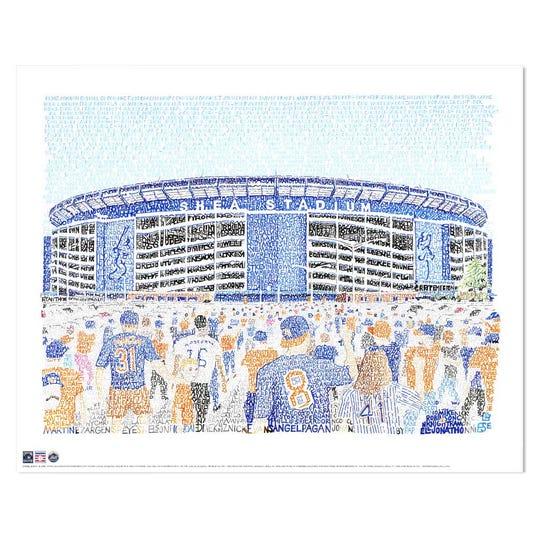 Daniel Duffy created a word art image of Shea Stadium.