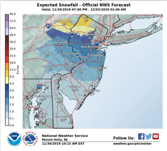 This map from the National Weather Service shows snowfall counts through Tuesday, Dec. 2.