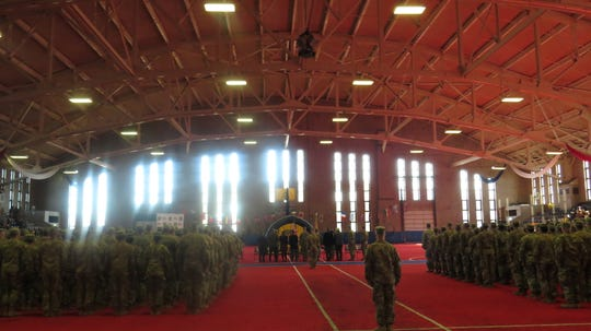 After 10 months deployed to Africa, 280 members of the National Guard 113th Infantry Regiment were welcomed home to the Teaneck National Guard Armory. Saturday, Nov. 30, 2019.