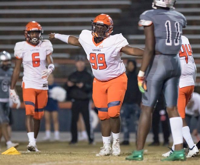 Sam Allen (99) celebrates a sack during the Gaither vs Escambia playoff football game at Escambia High School in Pensacola on Friday, Nov. 29, 2019.