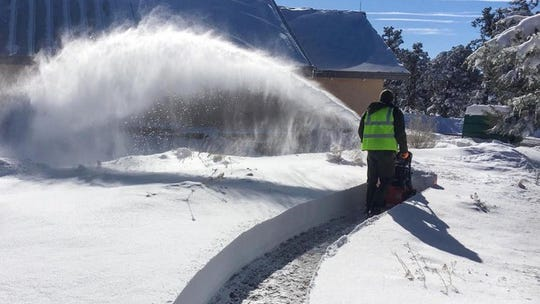 Grand Canyon National Park continues to remove snow from a recent winter storm. Parking is limited.