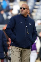 Nov 30, 2019; University Park, PA, USA; Penn State Nittany Lions head coach James Franklin looks on during a warmup prior to the game against the Rutgers Scarlet Knights at Beaver Stadium. Mandatory Credit: Matthew O'Haren-USA TODAY Sports