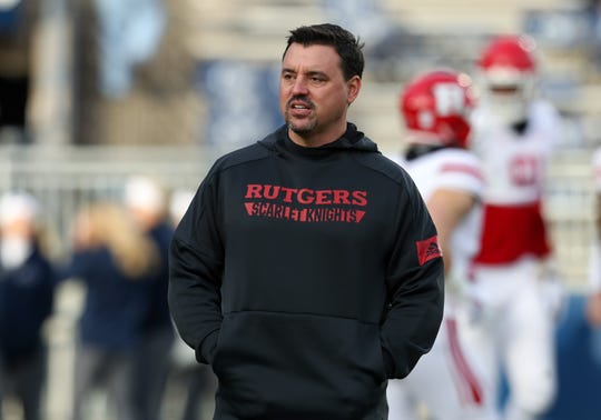 Nov 30, 2019; University Park, PA, USA; Rutgers Scarlet Knights interim head coach Nunzio Campanile walks on the field during a warmup prior to the game against the Penn State Nittany Lions at Beaver Stadium. Mandatory Credit: Matthew O'Haren-USA TODAY Sports