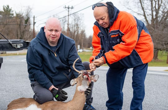 Horace Miller, 73, (right) and Shawn Miller, 41, (left) bagged this deer in the woods by Iron Stone Road using a 30-06 rifle, November 30, 2019.