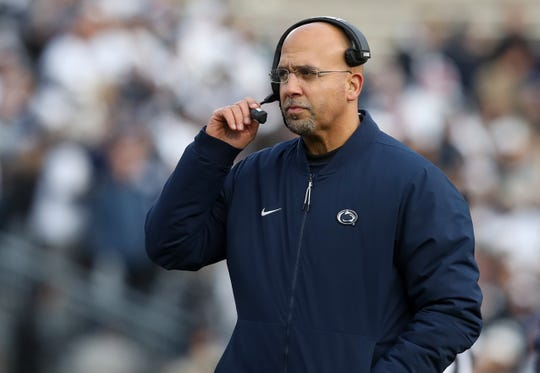 Nov 30, 2019; University Park, PA, USA; Penn State Nittany Lions head coach James Franklin walks on the field during an injury time out during the first quarter against the Rutgers Scarlet Knights at Beaver Stadium. Mandatory Credit: Matthew O'Haren-USA TODAY Sports