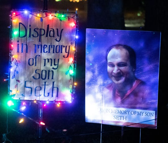 Donnie Webb has a memorial for his son in the midst of all of the Christmas lights, November 29, 2019.