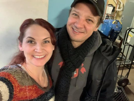 Chase McKenna, founder of Harvest of Hope, which serves Reno's homeless population on Thanksgiving, is pictured with actor Jeremy Renner on Thanksgiving Day 2019.