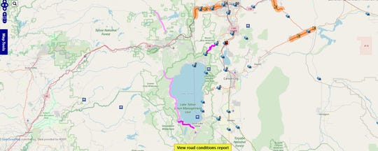 A snapshot of a map showing chain and snow tire controls on local roads.