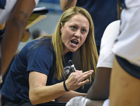 Nevada's head coach Amanda Levens talks to her team during a timeout against Saint Mary's at Lawlor Events Center on Nov. 5, 2019. Nevada won 78-72