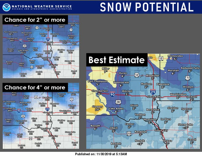 A graphic from the National Weather Service showing projected snowfall totals.
