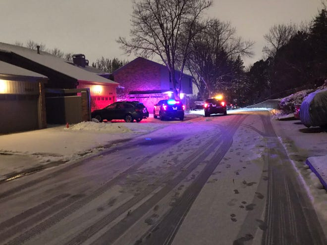 Authorities respond to a report of a stabbing on the 3200 block of West Rivers Edge Way just west of Kiwanis Avenue in Sioux Falls on Friday night.
