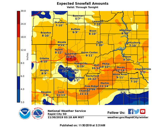 A graphic from the National Weather Service showing expected snowfall totals in western South Dakota.