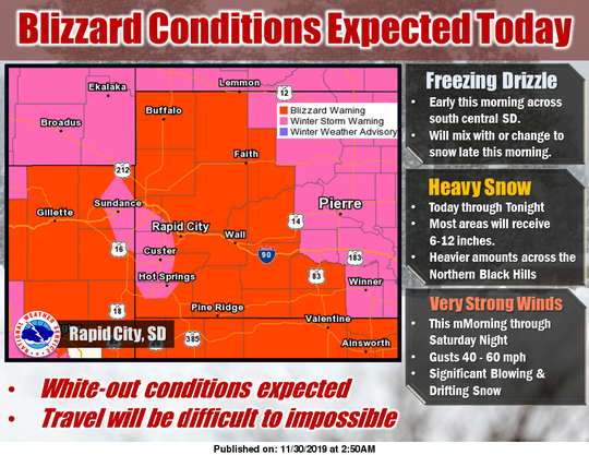 A graphic from the National Weather Service showing weather conditions in western South Dakota