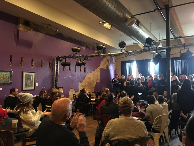More than 40 Black Friday shoppers joined the Springfield Street Choir for a mini-concert of Christmas music and classic hit songs at Big Momma's Coffee on Nov. 29, 2019.