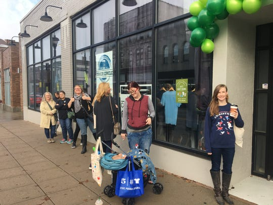 Shoppers waited in line for 417 Craft Crawl before it opened on Small Business Saturday, Nov. 30, 2019.