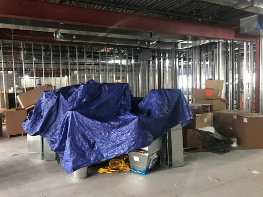 Construction materials in the unfinished emergency operations center at the Sartell Public Safety Campus Monday, Nov. 18, 2019