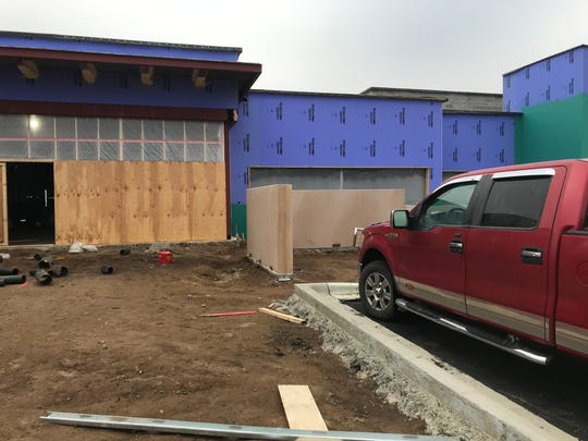 The front entryway to the Sartell Public Safety Campus under construction Monday, Nov. 18, 2019