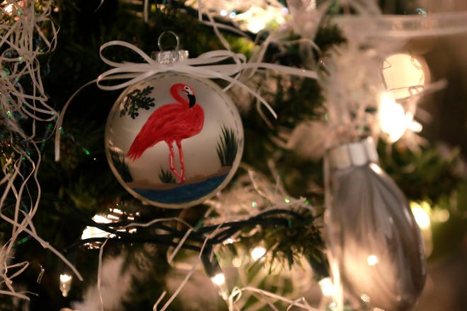 Decorations from the 55th LeMoyne Arts Annual Holiday Show. This year marks the 57th event and the gallery will open at noon Friday.