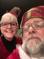 Saint Nicholas and Elf Nancy at the Breakfast with St. Nick event.