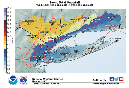 Snow is in the forecast. Here are the National Weather Service's projected totals for Dec. 1-3, 2019.