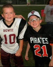 Rider junior Jed Castles (left) and Wichita Falls High junior Zy Gravitt have been best friends playing against each other since they were kids. In this photo, Castles played for Bowie, while Gravitt played for Petrolia in the second grade.