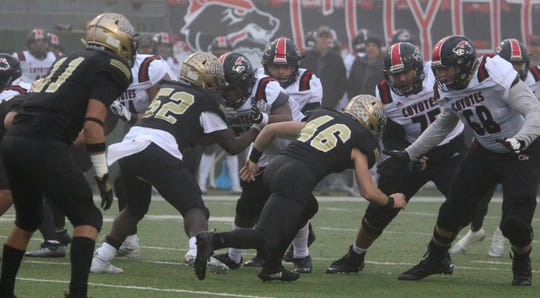 Wichita Falls High's offensive line blocks Rider defenders Friday, Nov. 29, 2019 in the Class 5A Division I regional semifinal in Memorial Stadium. The Raiders defeated the Coyotes 56-20.
