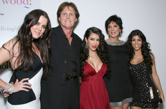 """Khloe Kardashian, former Olympian Bruce Jenner, T.V. personality Kimberly Kardashian, Kris Jenner and Kourtney Kardashian arrive at the Premiere of the new reality show """"Keeping up with the Kardashians"""" on Octorber 9,2007 in Los Angeles, California."""
