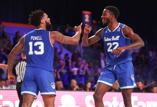 Seton Hall Pirates guard Myles Powell (13) and guard Myles Cale (22) react during the second half against the Iowa State Cyclones
