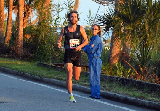 David Kilgore is seen in this file photo on his way to winning the Space Coast Marathon for the fifth year in a row Dec. 1, 2019.