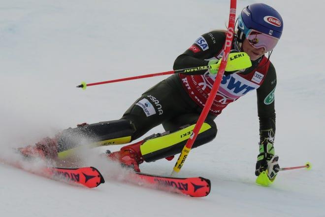 United States' Mikaela Shiffrin competes during an alpine ski, women's World Cup slalom in Killington, Vt., Sunday, Dec.1, 2019.