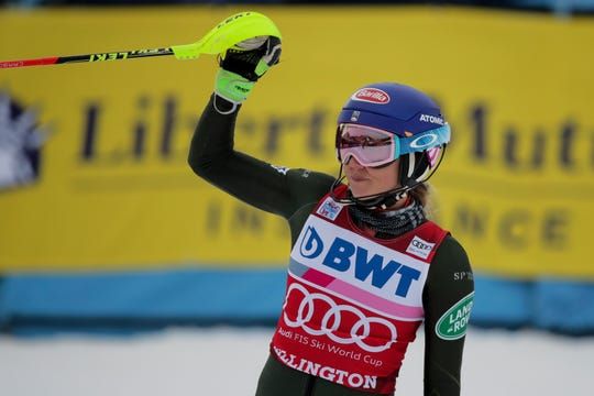 United States' Mikaela Shiffrin celebrates winning an alpine ski, women's World Cup slalom in Killington, Vt., Sunday, Dec.1, 2019.