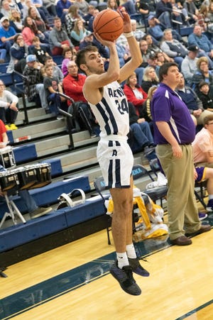 Adena's Cade McKee shoots a three-pointer during a 73-41 win over Lucasville Valley in Frankfort, Ohio, on Saturday, November 30, 2019. Adena defeated Huntington on Friday.