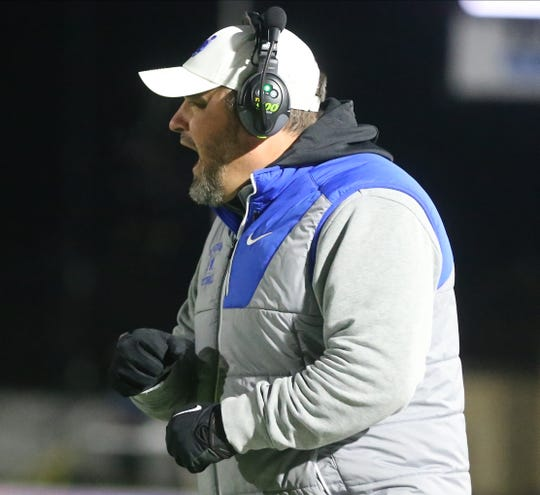 Wyoming head coach Aaron Hancock reacts during the Cowboys' 35-14 loss to Clyde in the state semifinals Saturday, Nov. 30, 2019.