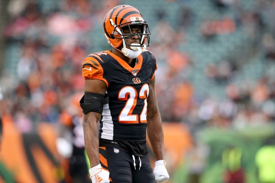 Cincinnati Bengals cornerback William Jackson (22) reacts after a tackle for a loss during the second quarter of a Week 13 NFL game against the New York Jets, Sunday, Dec. 1, 2019, at Paul Brown Stadium in Cincinnati.