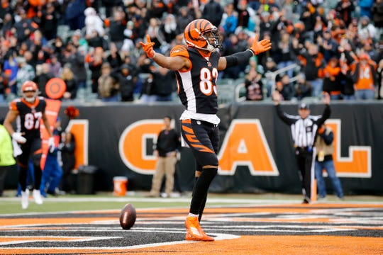 Cincinnati Bengals wide receiver Tyler Boyd (83) celebrates after a touchdown reception in the first quarter of the NFL Week 13 game between the Cincinnati Bengals and the New York Jets at Paul Brown Stadium in downtown Cincinnati on Sunday, Dec. 1, 2019. The Bengals led 17-6 at halftime.