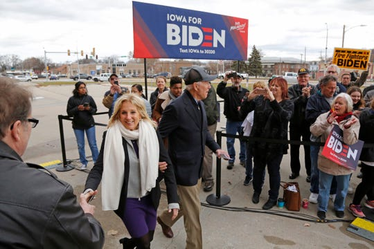 Democratic presidential candidate and former Vice President Joe Biden and his wife Jill Biden arrive to a campaign appearance in Council Bluffs, Iowa, Saturday, Nov. 30, 2019. (AP Photo/Nati Harnik)