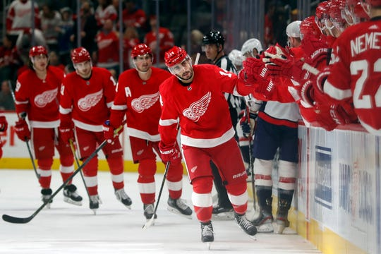 Detroit Red Wings center Robby Fabbri greets teammates after scoring during the first period against the Washington Capitals, Saturday, Nov. 30, 2019, in Detroit.