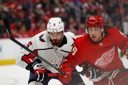Detroit Red Wings' Dylan Larkin shows some frustration as losses continue to mount