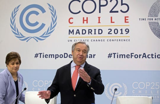 UN Secretary-General Antonio Guterres arrives for a news conference at the COP25 summit in Madrid, Spain.