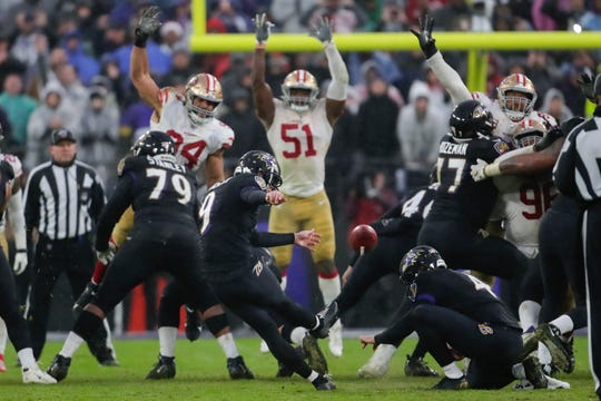 Ravens kicker Justin Tucker (9) kicks the game winning field goal against the 49ers in the second half on Sunday.
