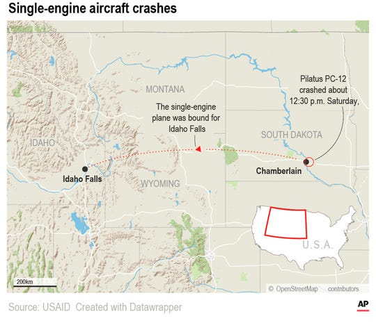 Peter Knudson with the National Transportation Safety Board told The Associated Press 12 people were aboard the Pilatus PC-12 when it crashed about 12:30 p.m. Saturday, shortly after taking off from Chamberlain, about 140 miles (225.3 kilometers) west of Sioux Falls.