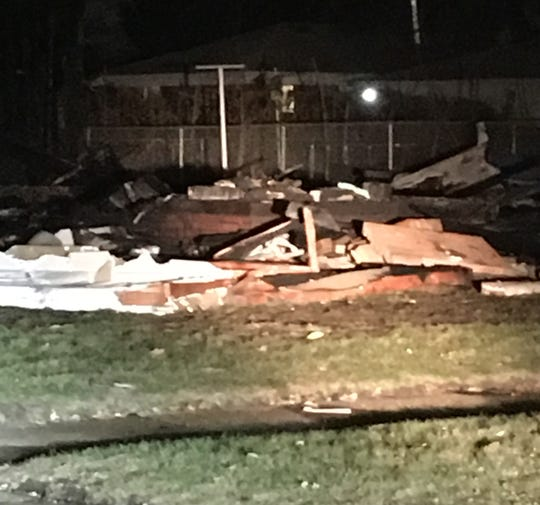 Rubble of a leveled house after an apparent explosion on the 28000 block of Le Fever in Warren.