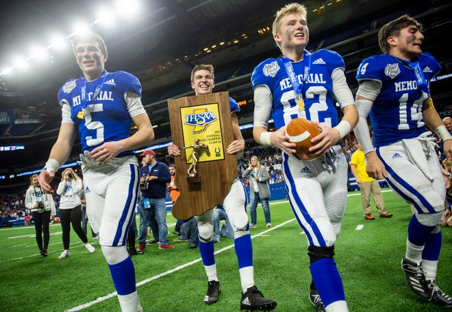 Evansville Memorial beats East Noble to take home the title of IHSAA Class 4A State Champions at Lucas Oil Stadium in Indianapolis, Ind., Saturday, Nov. 30, 2019.