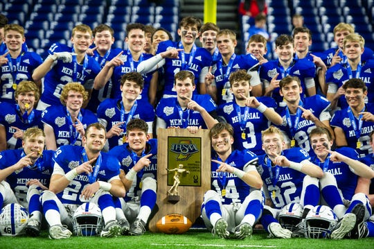 The Evansville Memorial Tigers are the 2019 IHSAA Class 4A State Champions, Lucas Oil Stadium in Indianapolis, Ind., Saturday, Nov. 30, 2019. Memorial won the state title in a 21-3 victory over East Noble.