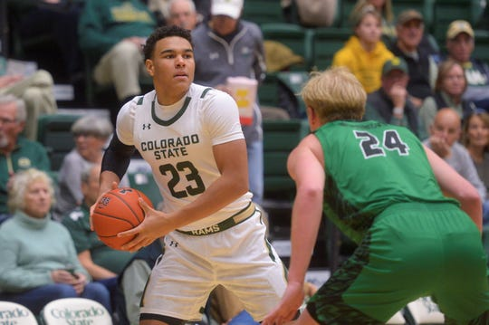Colorado State basketball player John Tonje looks for a pass during a game against Utah Valley at Moby Arena on Sunday, Dec. 1, 2019.