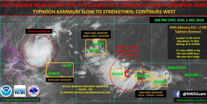 A system east of Chuuk and west of Pohnpei is not forcecast to threaten Guam or the Northern Marianas.