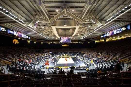 Fans watch as the Iowa Hawkeyes take on Maryland during a NCAA Big Ten Conference women's volleyball match, Saturday, Nov. 30, 2019, Carver-Hawkeye Arena in Iowa City, Iowa.