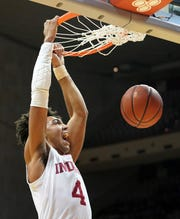 Freshman Trayce Jackson-Davis is averaging 14.8 points and 8.7 rebounds so far for the Hoosiers.