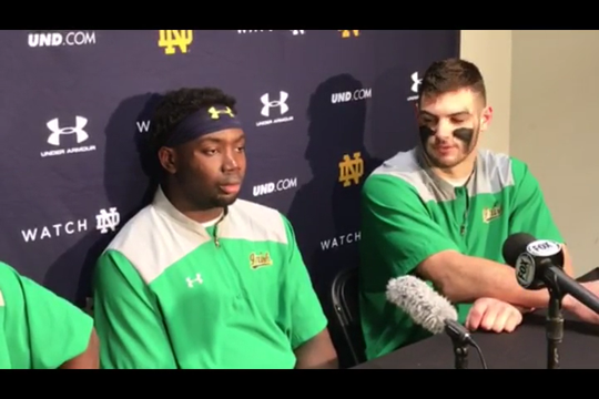 Notre Dame tight end Cole Kmet on Ian Book and Jeremiah Owusu-Koramoah on defensive success on third down