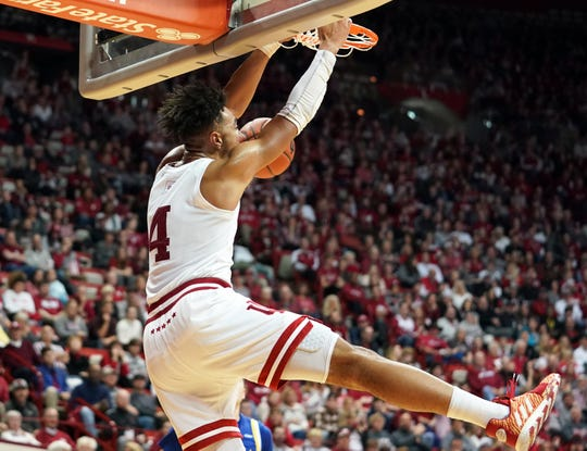 Indiana Hoosiers forward Trayce Jackson-Davis (4) dunks the ball during the game against South Dakota State at Simon Skjodt Assembly Hall in Bloomington, Ind., on Saturday, Nov. 30, 2019.